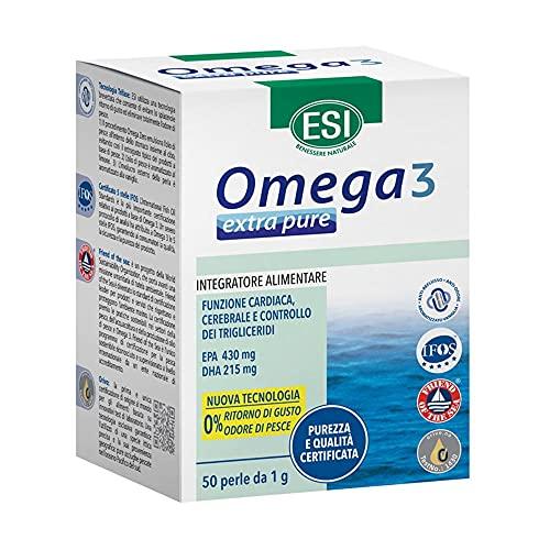 ESI Omega 3 - Extra Pure Integratore Naturale Omega 3 e Vitamina E, 50 Perle