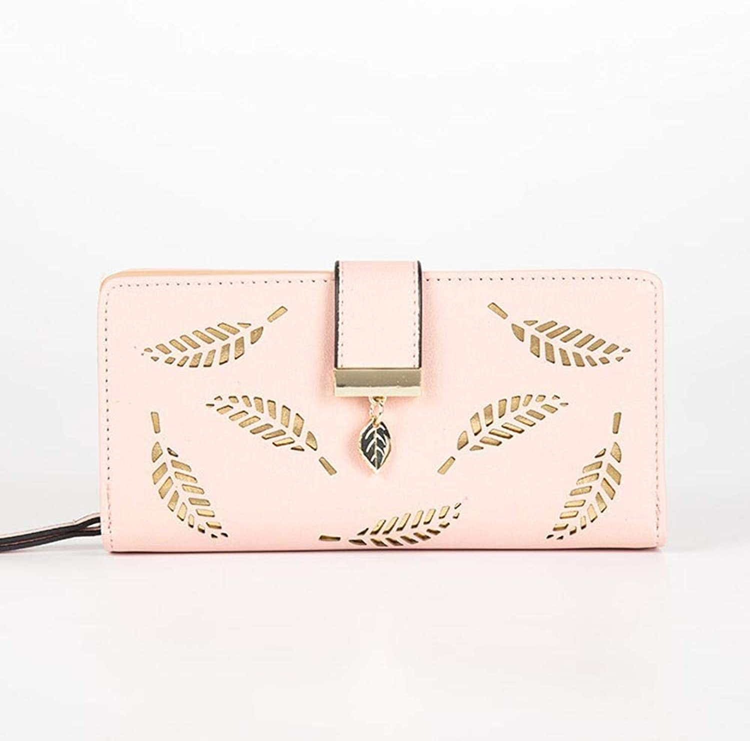 Girls Purse Ladies Wallet Leaf Hollow Lady Purse Large Zipper Buckle Casual Hand Take Change Card Bag (color   B)