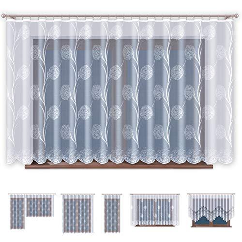 Jacquard gordijnen met rubriek tape transparant in wit venster gordijn - zonder boren - onderhoudsvriendelijk | Oeko-Tex Standaard 100 certificering | Geproduceerd in de EU - Premium kwaliteit