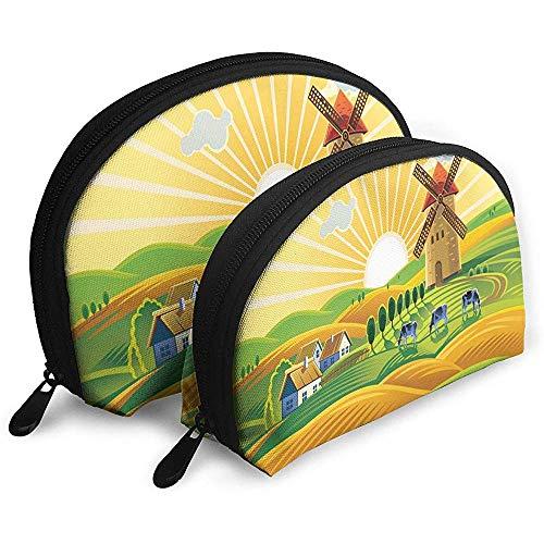 KW-Wosn Landschaft im ländlichen Raum Ein Windmühlendorf und Herde 2-teiliges Handtaschen-Set Tragbare Handtasche 2-tlg. Handtasche für Damen