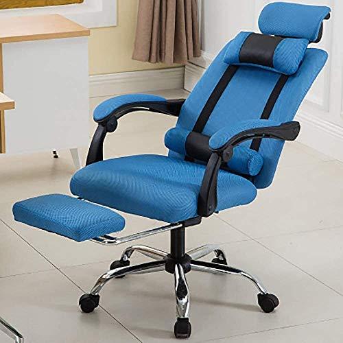 Desk Chairs DBL Silla de Oficina ergonómica/reclinable/Giratorio Armchair- Respaldo Alto con el reposapiés de diseño, Opcionales Las sillas de Escritorio (Size : Blue)