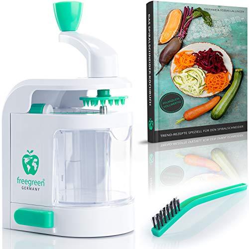 freegreen® Premium Spiralschneider inklusive Kochbuch 'Das Spiralschneider-Kochbuch' - [DAS ORIGINAL] - Zaubere Dir Dein Traumgericht aus Obst- und Gemüsenudeln - EIN Zoodle Maker, der begeistert.