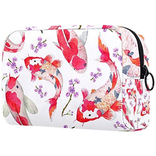 Bolsa de cosméticos de carpa roja con flor para mujer, adorable bolsa de maquillaje espaciosa bolsa de viaje impermeable