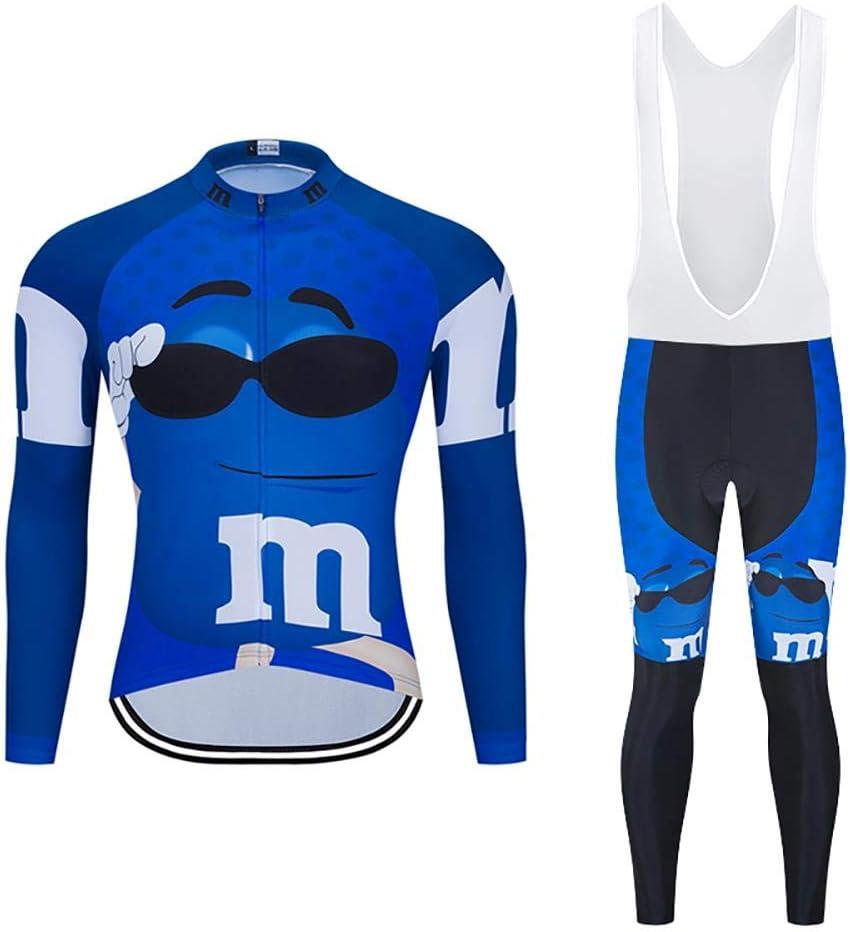 Moxilyn Traje Jerseys de Ciclismo para Hombre,Conjunto Ropa de Ciclo Manga Larga,Pantalones Acolchados Top Transpirable y Que Absorbe El Sudor 20D de Manga Larga Pantalones,A Prueba de Viento