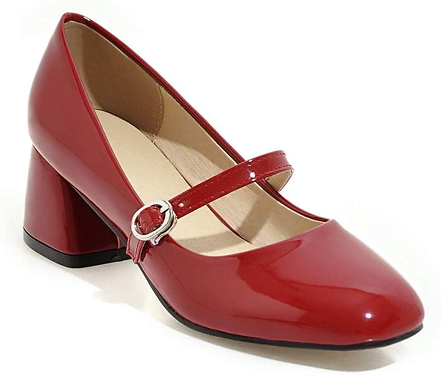 Beautiful - Fashion Women's Mary Jane Oxford Pump Square Toe Slip On Mid Heel Leather Retro Uniform Dress Loafer shoes