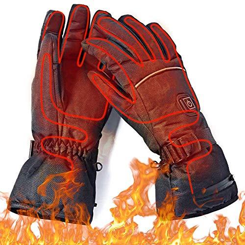 Beheizte Handschuhe für Herren Damen, 7.4V 4000mAh Beheizte Lederhandschuhe Wiederaufladbare Lithium-Ionen-Batterie Beheizbare Handschuhe Fahrrad Motorrad Winterhandschuhe Ski-Handschuhe (Stil 1)