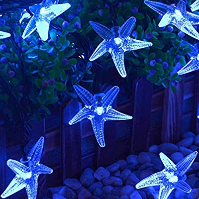 LUCKLED Starfish Solar String Lights, 20ft 30 LED Decorative Christmas lights for Home, Garden, Patio, Lawn, Party and Holiday Decorations