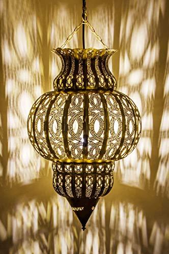 Orientalische Lampe Pendelleuchte Gold Isfahan 50cm E27 Lampenfassung   Marokkanische Design Hängeleuchte Leuchte aus Marokko   Orient Lampen für Wohnzimmer, Küche oder Hängend über den Esstisch