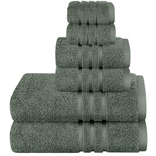 Josmon Towel Sets, Bath Towels Set 6 Pieces Dark Grey Towels for Bathroom, Luxury Highly Absorbent Hotel Spa Gym 2 Bath Towels 2 Hand Towels 2 Washcloths