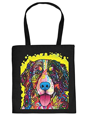 Cool bedruckte Stofftasche in schwarz mit trendy Neon Motiv: Berner Sennenhund