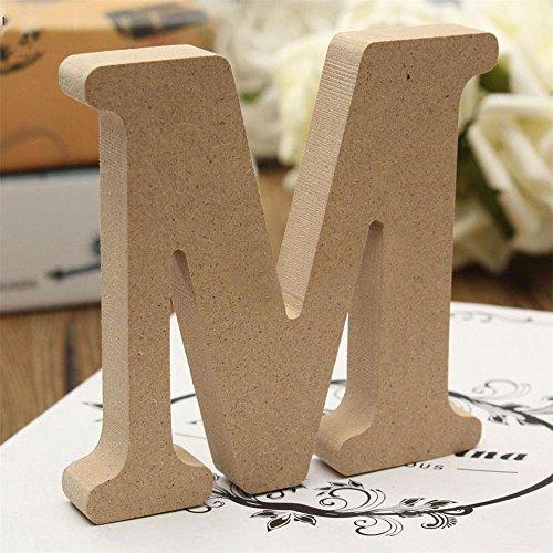 Freeas Dekorative Holz Buchstaben, hängende Wand 26 Buchstaben aus Holz Alphabet Wand Buchstaben für Kinder Baby Name Mädchen Schlafzimmer Hochzeit Geburtstag Party Home Decor-Briefe (M)