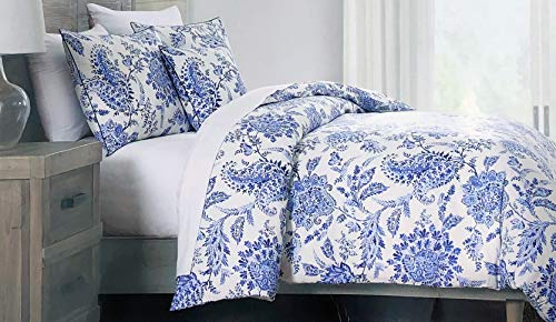 Tahari Home Maison 3 Piece Duvet Cover Set Floral Pattern in Shades of Blue on White (Queen)