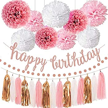 Pink Rose Gold Birthday Party Decorations Set Rose Gold Glittery Happy Birthday banner Tissue Paper Pom Circle Dots Garland and Tassel Garland for Birthday Party Decorations
