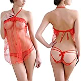 Sexy Elegant Lace Lingerie Dress See-Through Women Underwear Sleepwear Chemise Charming Female Clothes Set (M, Red)