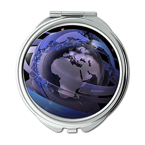 Spiegel, schöne Planeten-Erde Kundengebundener Verfassungsspiegel, Erdkugel-Digital-Kontinent-Europa-Grafikverfassungsspiegel, Taschenspiegel, beweglicher Spiegel