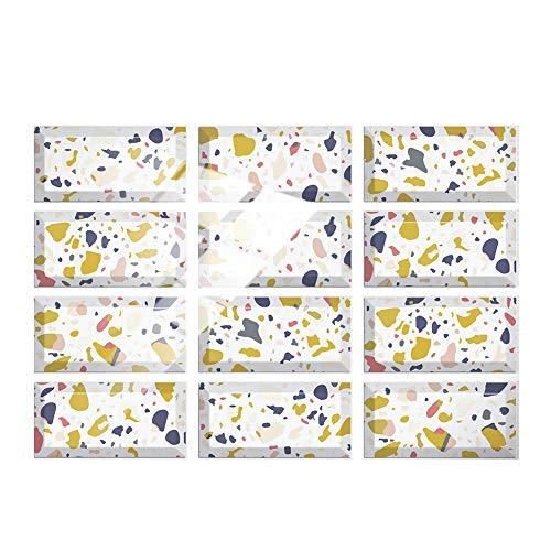 Hiseng 24/48 Piezas Rectángulo Adhesivos Decorativos Azulejos Pegatinas para Baldosas del Baño, Mármol Patrón Mosaico Estilo Cocina Resistente al Agua Pegatina de Pared (Blanco,24Piezas)