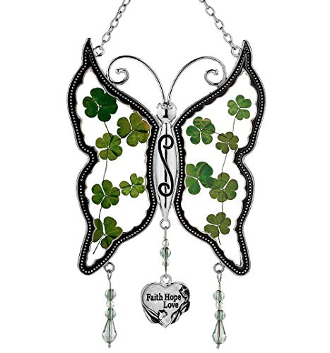 KY&BOSAM Shamrock Faith Hope Love Butterfly Suncatchers Irish Celtic Suncatchers Art Glass Suncatchrs St Patrick's Day Decoration, Irish Gift in-Law Gift, Irish Family Shamrock