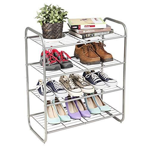 4-Tier Shoe Rack, Shoe Shelf Storage Organizer,...