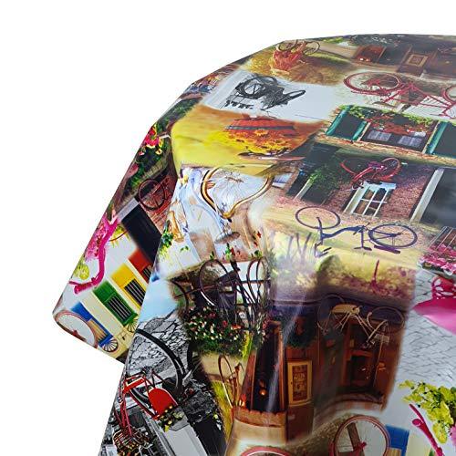 DecoHomeTextil Wachstuch Tischdecke Wachstischdecke Gartentsichdecke Bicycle Velo Rund 140 cm abwaschbar Farbe und Größe wählbar