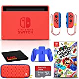 Nintendo Switch Mario Red and Blue Edition Console (HADSRAAAF) Bundle with Super Mario Party Game, 64GB microSDXC Memory Card, Carrying Case, and 6Ave Cleaning Cloth