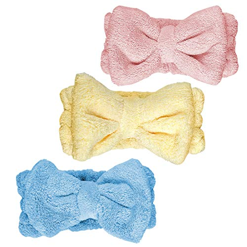 3 Pack Bowtie Headbands, Soft Coral Fleece Facial Makeup Headbands Cosmetic Headband for Washing Face, Spa Yoga Sports Shower Hairlace Elastic Bow Hair Band for Girls and Women