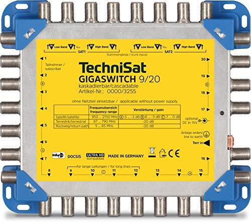 TechniSat GigaSwitch Multischalter 9/20 Multischalter (für bis zu 20 Teilnehmer zur Verteilung von 2 Orbitpositionen und terrestrischen Signalen)
