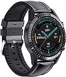 Para Blackview BV9800 BV9700Pro BV9100 BV6100 BV5800 BV6800 Pro Reloj Inteligente Bluetooth Llamada Teléfono Smartwatch Frecuencia Cardíaca Hombres Deportes-Cuero Negro