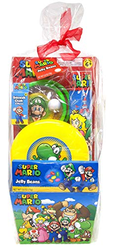 Prefilled Easter Basket Super Mario Themed Jelly Beans & Outdoor Fun Toys, Flying Disc, Chalk, Paddles n Ball Set, Premade Baskets for Kids
