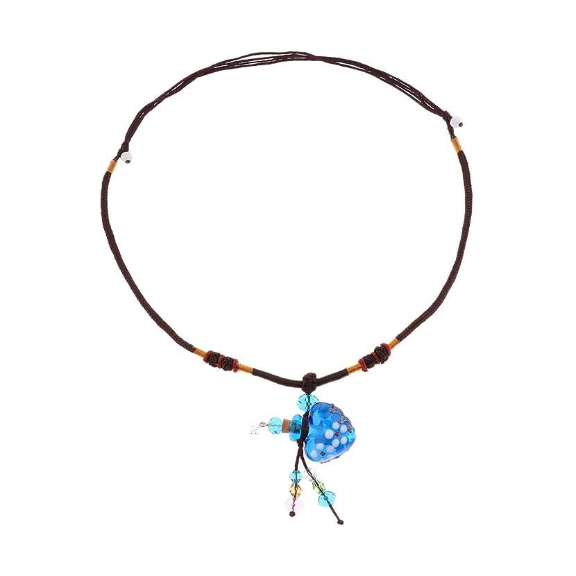 あざ起きろ建てるPerfeclan ガラス香水瓶 ペンダント ネックレス オイルディフューザー バイアル 3色選べ - 青