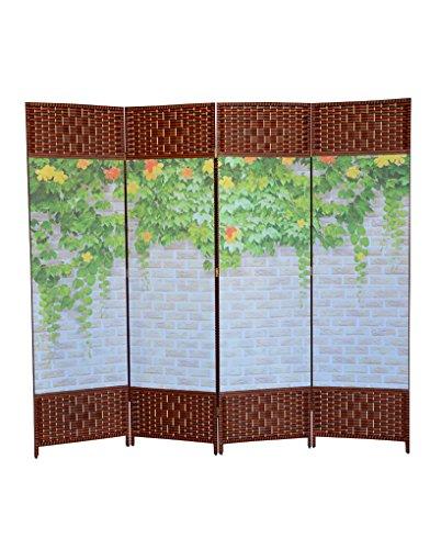 Hogar y Mas Biombo Separador de Ambientes, Oriental Toyako Foral, Plegable 4 Paneles. Colocar en Salon Dormitorio. 180x200 cm.
