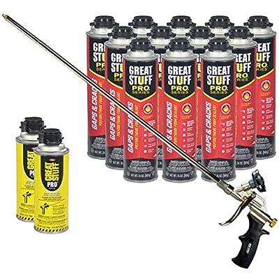 Dow Great Stuff Pro Gaps and Cracks 24 oz Foam (12) with AWF Pro 2 ft Foam Gun (1) Plus Dow Great Stuff Pro Foam Gun Cleaner (2)