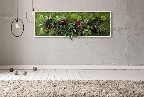 L'Elegante, Quadro vegetale con muschio piatto e piante naturali stabilizzate, Moss Frame, zero manutenzione, Jungle Moss, giardino pensile stabilizzato