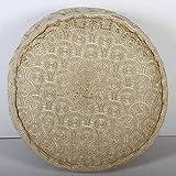 Casa Moro Boho Bodenkissen Naima Gold rund mit Füllung Ø 60cm x Höhe 20cm rund aus Baumwolle | Orientalisches Sitzkissen Polsterhocker Pouf für einfach schöner Wohnen | MA9901