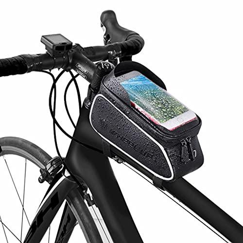 Bolsa Bicicleta, bolsa impermeable para manillar de bicicleta con pantalla táctil para teléfono móvil, bolsa para sillín de viga delantera portátil para ciclismo de montaña / carretera para exteriores