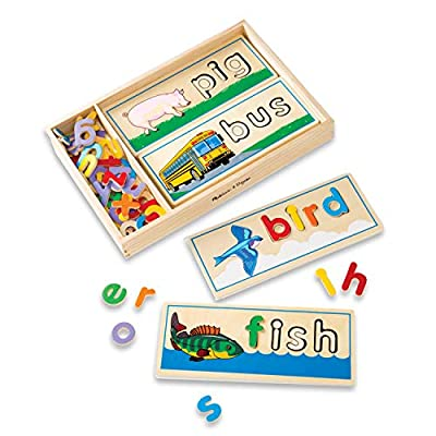Melissa & Doug See & Spell Wooden Educational Toy With 8 Double-Sided Spelling Boards and 64 Letters from Melissa & Doug