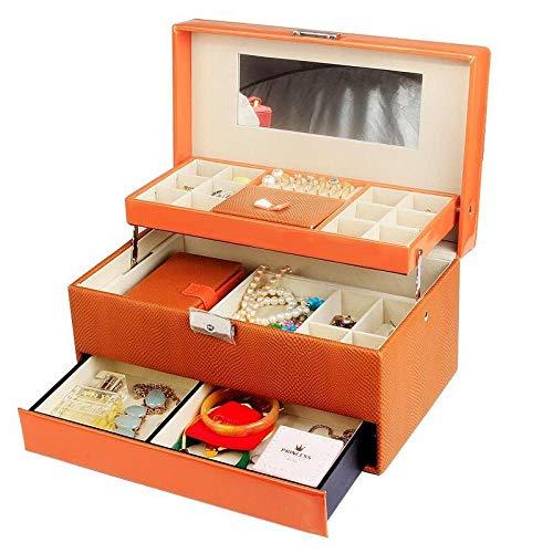 QAZXS Schmuckschatulle Schmuckschatulle Schmuckschatulle aus Holz mit Schubladenverschluss mit Spiegelgürtel mit Ring Orange Box-Warm Halskette