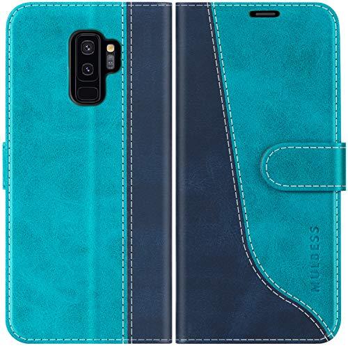 Mulbess Custodia per Samsung S9 Plus, Cover Samsung S9 Plus Libro, Custodia Samsung Galaxy S9 Plus Pelle, Flip Cover per Samsung Galaxy S9 Plus Portafoglio, Blu Mint