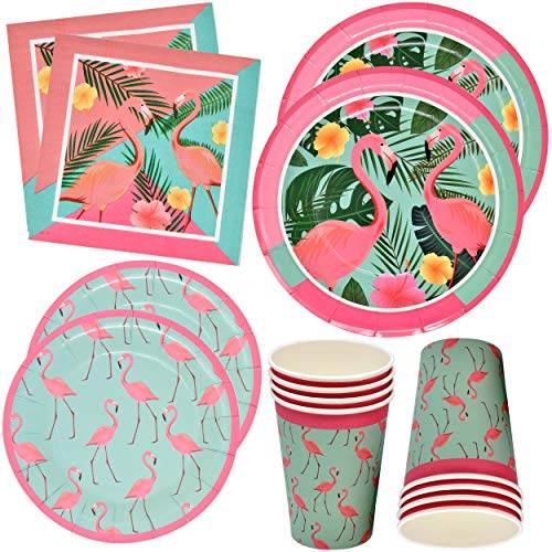Flamingo Party Supplies Dinnerware Set 24 9 Plates 24 7 Plates 24 9 Oz Cups 50 Luncheon Napkins Pink Summer Tropical Flamingos Pool Luau Beach Birthday Disposable Tableware Decorations Gift Boutique