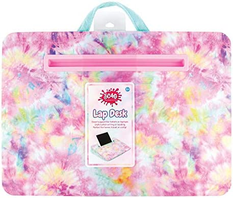 Three Cheers for Girls Pastel Tie Dye Faux Fur Lap Desk Portable Lap Pillow Desk for Kids with product image
