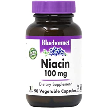 BlueBonnet Niacin 100 mg Vegetable Capsules, 90 Count ('743715004597)