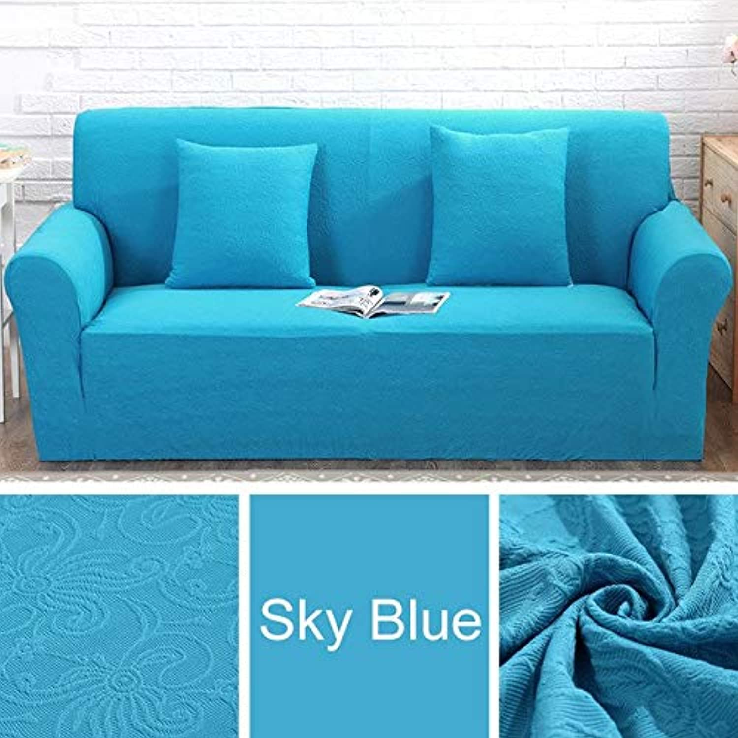 Jacquard Embroidery Fabric Sofa Cover Tight wrap All-Inclusive sectional Elastic seat Covers Couch Covering Slipcovers   Sky bluee, 4 seat 230-300cm