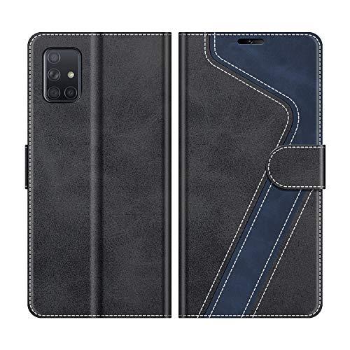 MOBESV Handyhülle für Samsung Galaxy A51 Hülle Leder, Samsung Galaxy A51 Klapphülle Handytasche Case für Samsung Galaxy A51 Handy Hüllen, Modisch Schwarz