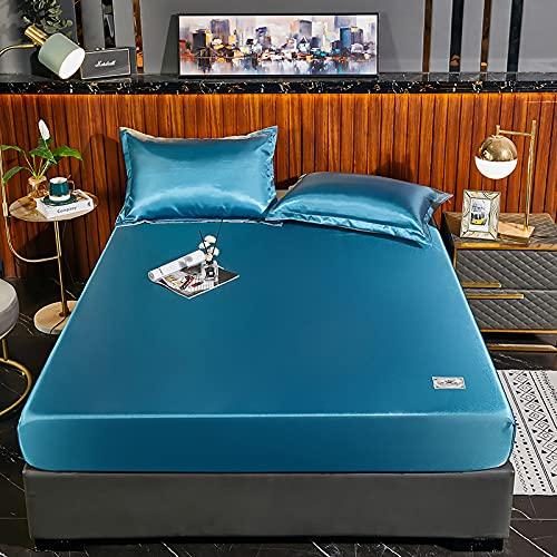 HAIBA Sábana plana de microfibra de látex natural para dormir desnudo en verano, lavable de seda de hielo, tapete de látex, alfombrilla de aire acondicionado, azul, 180 x 200 cm