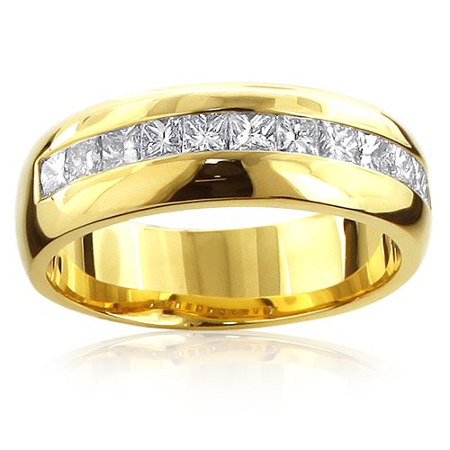 Luxurman Men's 14K Natural 1.2 Ctw Diamond Wedding Ring For Him (Rose Gold Size 12.5)