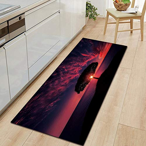 HLXX Paisaje cálido luz Solar Alfombra de Cocina Alfombra de Puerta de Entrada decoración de Piso de Dormitorio Sala de Estar Alfombra de baño A10 60x180cm