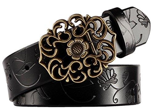 Aivtalk - Mujer Cinturón de Piel Correa Ancha con Hebilla Estilo de Flor...
