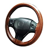 BuilLLin Cool Steering Wheel Cover Sew Genuine Leather with Needles Thread Auto Interior Accessories (Coffee)