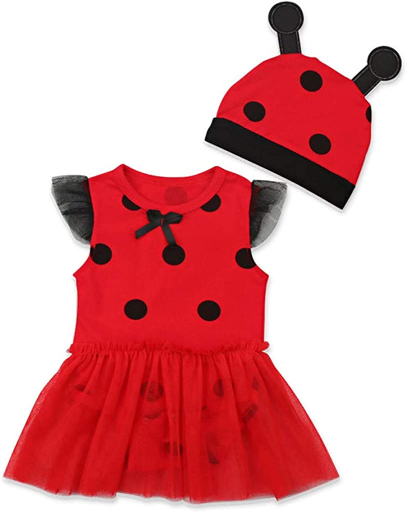 Ladybug Cosplay Dress for Toddler Kids Newborn Baby Girl Little Princess Dresses+Hat Outfits Skirt Costume