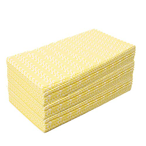 KMAKII Heavy Duty Kitchen Cloths Dish Towels Reusable Cleaning Cloths Dish Rags Size 11.8 x 20 Inches Yellow -80 Counts