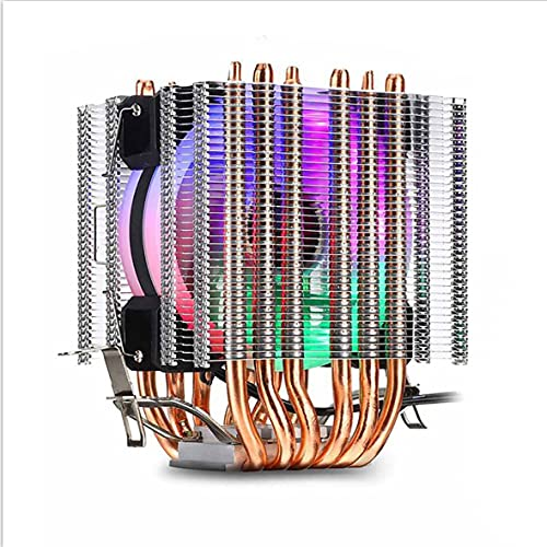 Wolfberrymetal Ventilador de refrigeraci de CPU, radiador de refrigeraci de CPU RGB, luz de Color silenciosa Pwm 130 W Tdp para Intel 1150 1155 1156 1366 2011 X79 X99 Am2 Am3 Am4 Ventilador